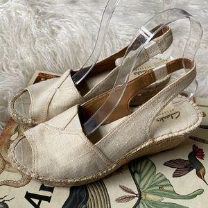 Clark's artisan linen sling back peep toe sandals